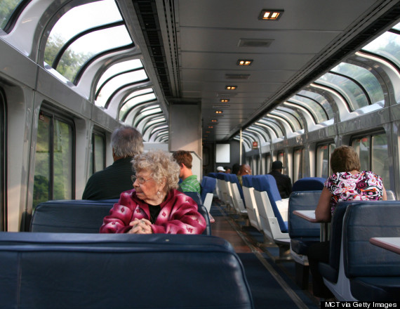 Amtrak's lounge car feature windows that reach into the ceiling which makes it the best place to soak up the scenery on a long trip. (Photo by Josh Noel/Chicago Tribune/MCT via Getty Images)