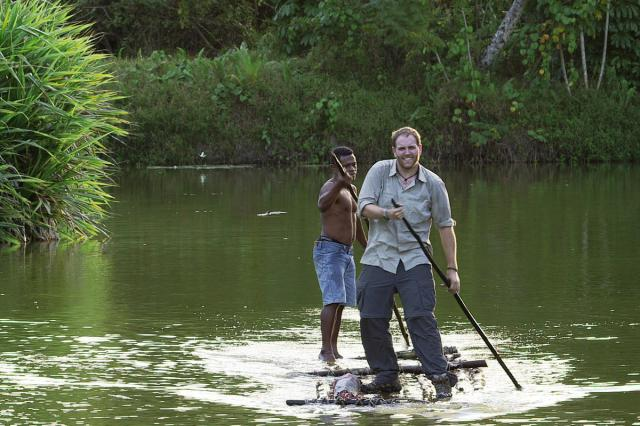 "On the ""Expedition Unknown"" series premiere, Josh Gates utilizes a bili-bili bamboo raft in order to get to a remote village on the island ot Viti Levu in Fiji/photo courtesy of The Travel Channel"